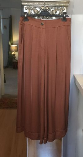 Italian Plain Wide Leg Silk Trousers - Copper